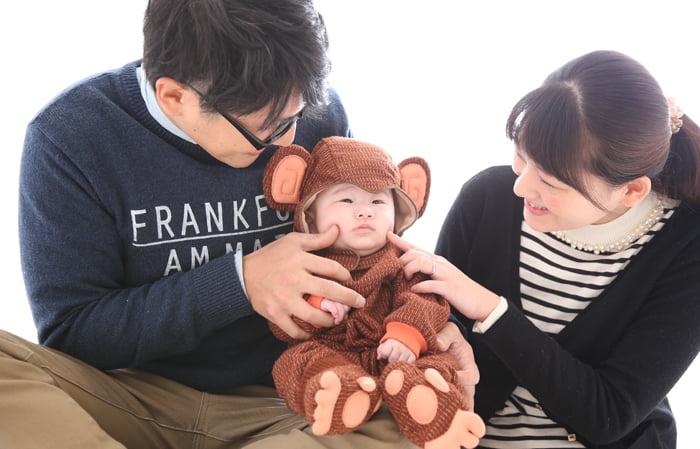 百日写真の家族撮影