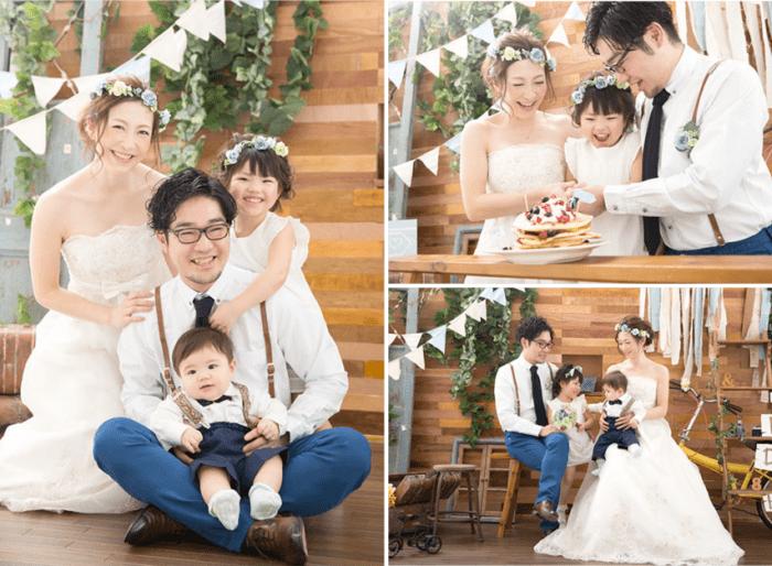 お子様と結婚写真