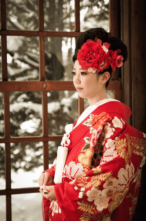 札幌の和装を着たロケーション結婚写真