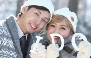 札幌の冬のロケーションブライダルフォト