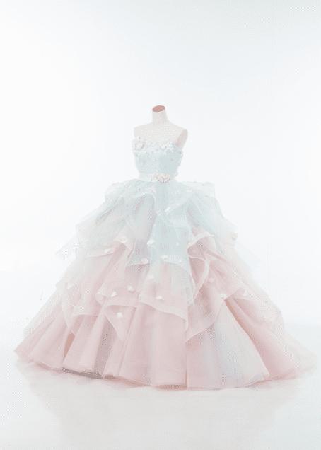ピンク×水色のシャーベットカラーのグラデーションドレス