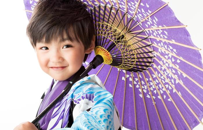 七五三写真の5歳の男の子