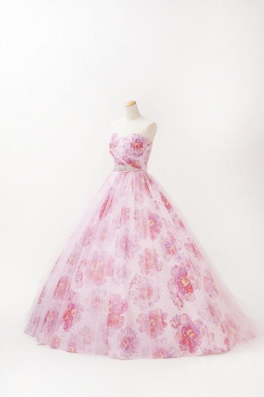 カラードレス ピンク 花