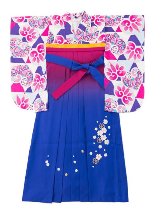 袴 総柄パープルピンク ブルー