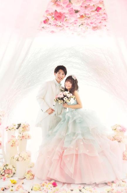 カラードレス 結婚写真