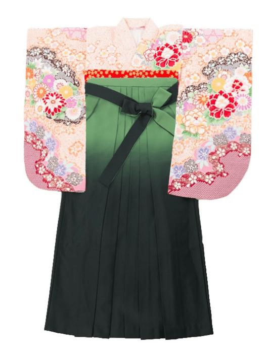 袴 パステルオレンジ モスグリーン
