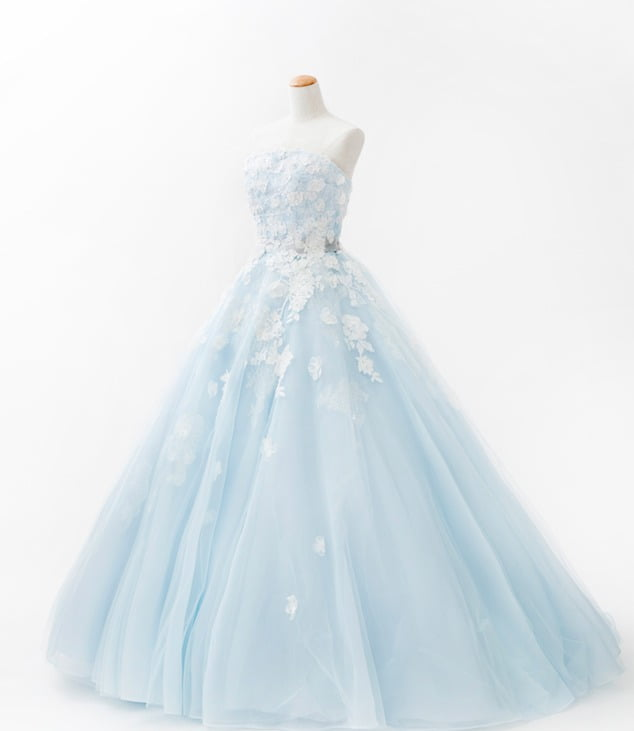 水色 青 カラードレス