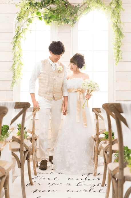 写真工房ぱれっと帯広店のチャペルで結婚式をしているようなフォトウエディング