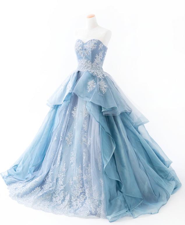 新作ドレス ブルー グレー