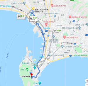 ぱれっと函館北斗店から函館八幡宮