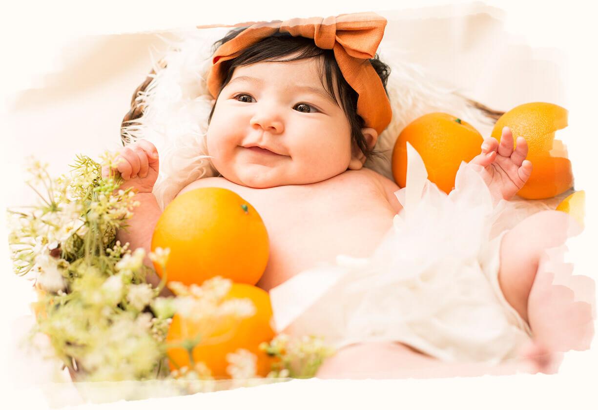 オレンジ×赤ちゃん