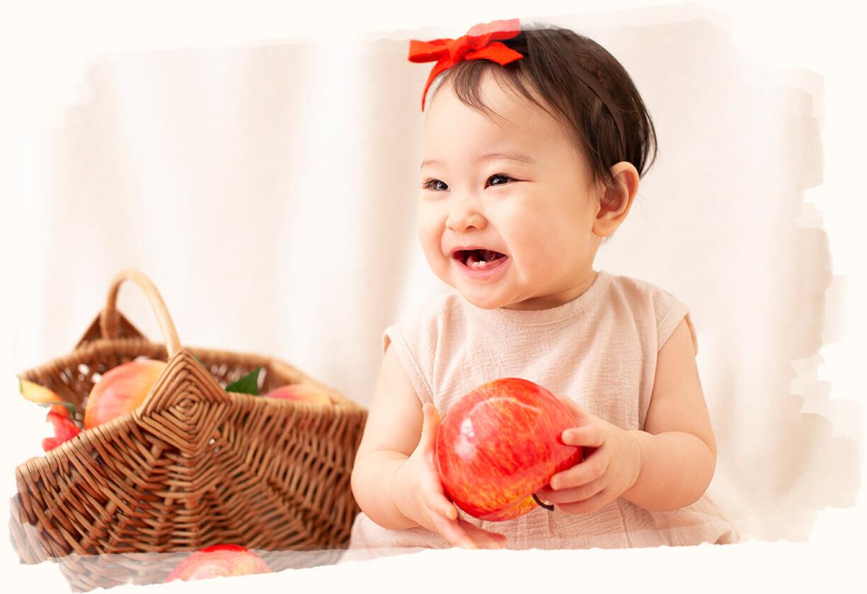 りんご×赤ちゃん